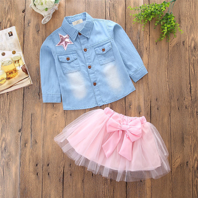 fa7361602cb4 Cute Baby Girls Clothes 2018 Summer Toddler Kids Denim T shirt Tops+Lace  Voile Skirt Outfits Children Girl Clothing Set