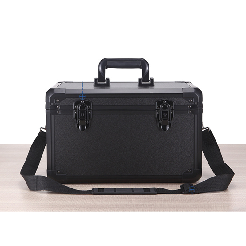 High Quality Aluminum Equipment Camera Toolbox Suitcase Impact Resistant Safety Case W Shoulder Strap Lock