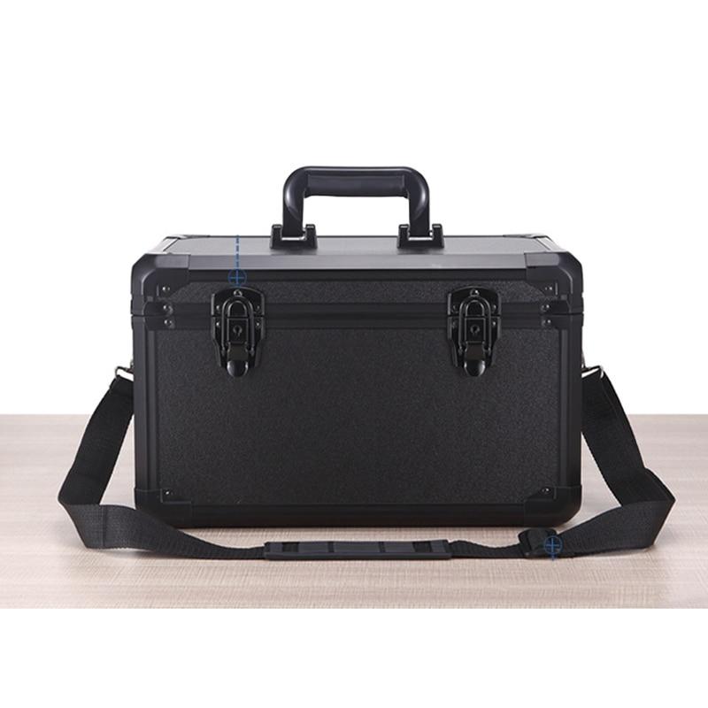 Equipo de aluminio de alta calidad, caja de herramientas para cámara, Maleta, resistente a impactos, estuche de seguridad con cierre de correa para el hombro