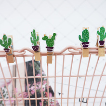 10 pcs/lot Kawaii Cactus wood clip Photo For Clothespin Craft Clips Party decoration Clip with Hemp Rope Party Supplies