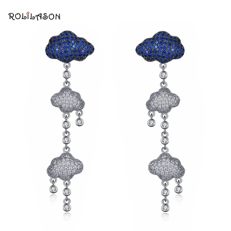 Special cloud delicate design 925 Sterling silver blue and white zircon Drop earrings party Jewelry For Women SE29