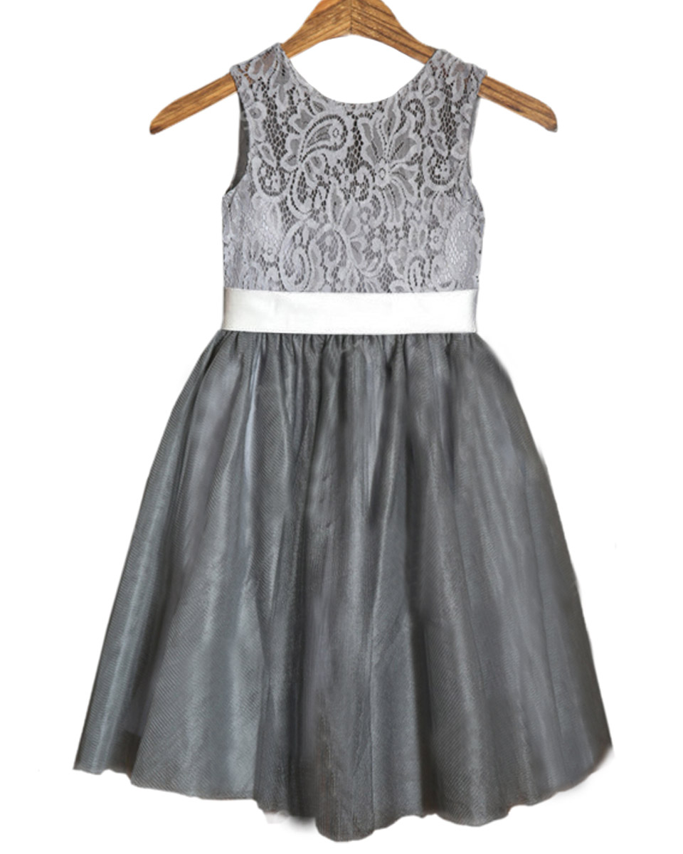 Gray Flower Girls Dresses For Wedding Gowns Lace Girl Birthday Party Dress Pageant Dresses for Girls Mother Daughter Dresses
