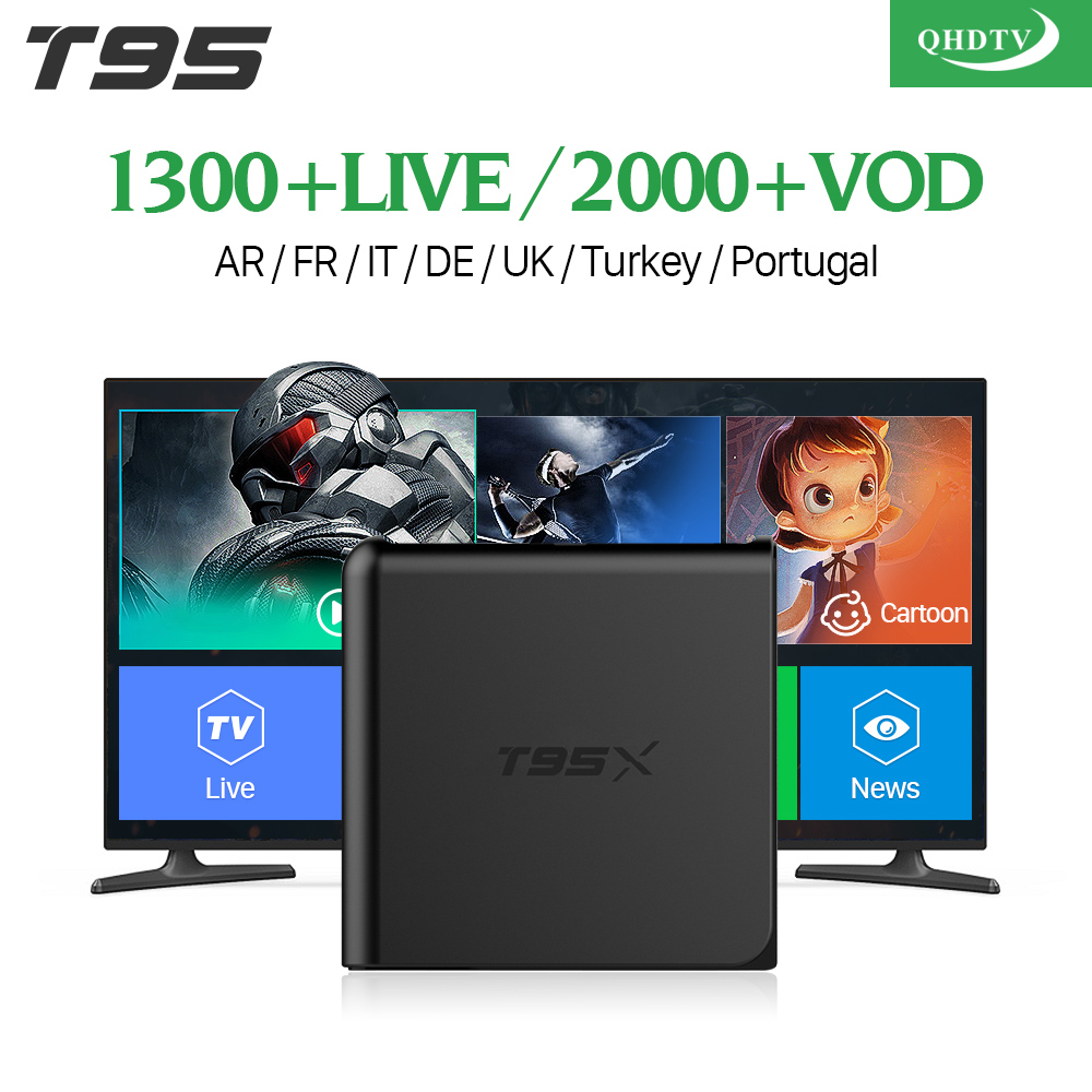 European IPTV Box T95X Android 6.0 TV Box IPTV Receiver 1300+ QHDTV IPTV Subscription French Beligum Netherlands Arabic Channels android box iptv stalker middleware ipremuim i9pro stc digital connector support dvb s2 dvb t2 cable isdb t iptv android tv box