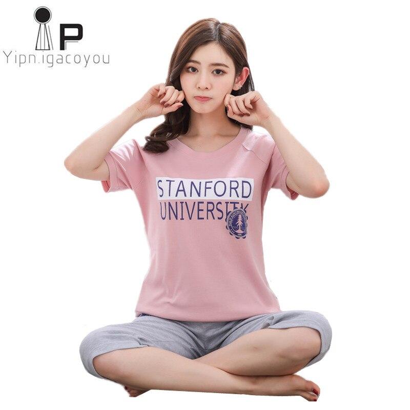 Summer Cropped pants   pajamas     set   women 2018 new Korean plus size women home clothes two piece Cotton sleepwear female night suit