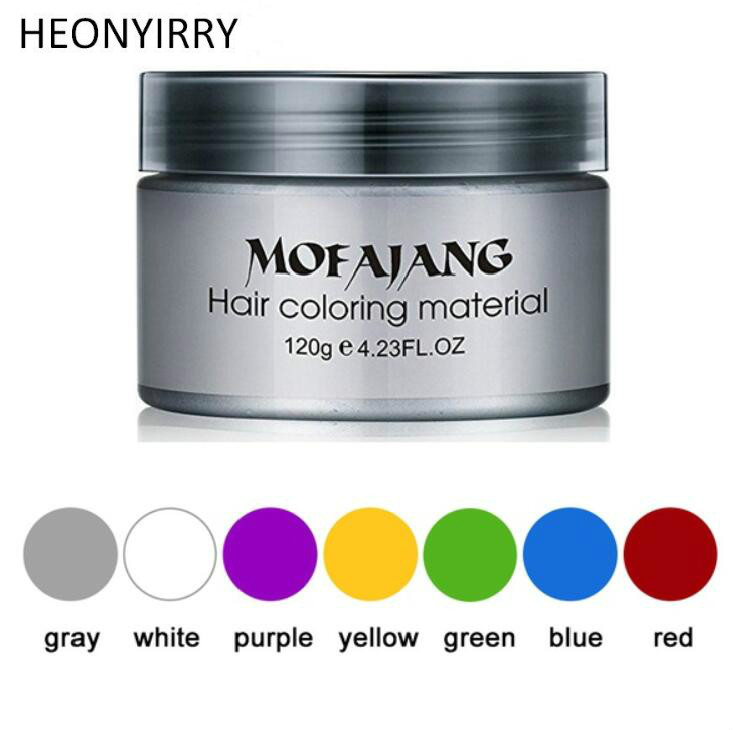 Unisex Color Hair Wax Dye One time Molding Paste Seven Colors Available BLUE Burgundy Grandma Gray