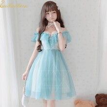 Женское шифоновое милое кружевное платье в стиле Лолиты для девочек, милый карнавальный костюм в стиле Лолиты, летнее платье, сексуальное платье для взрослых с открытыми плечами