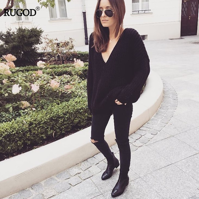 Rugod 19 New Sexy Backless V-neck Sweater Women Pullover Autumn Winter Casual Knitted Sweater Femme Tricot Pullover Jumpers 5