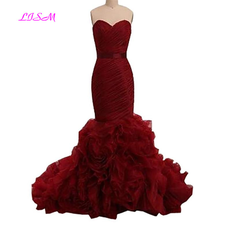 Wine Red Mermaid   Prom     Dresses   Sweetheart Organza Ruffles Long Formal Evening   Dress   Bow Sash Zipper Back Sheath Women   Prom   Gowns