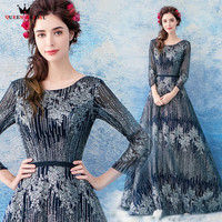 A Line 3 4 Sleeve Dark Blue Sequin Beaded Elegant Luxury Evening Dresses Evening Gowns 2018