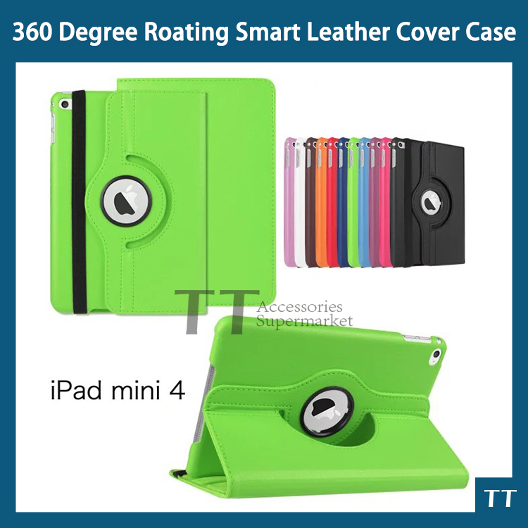 2015 New 360 Degree Rotating Leather Flip Case for iPad mini4 Mini 4 7.9 inch with Wake Up and Sleep Function+free 2 gifts for ipad air 2 case 360 degree rotating stand leather case smart cover with automatic wake sleep function for ipad6