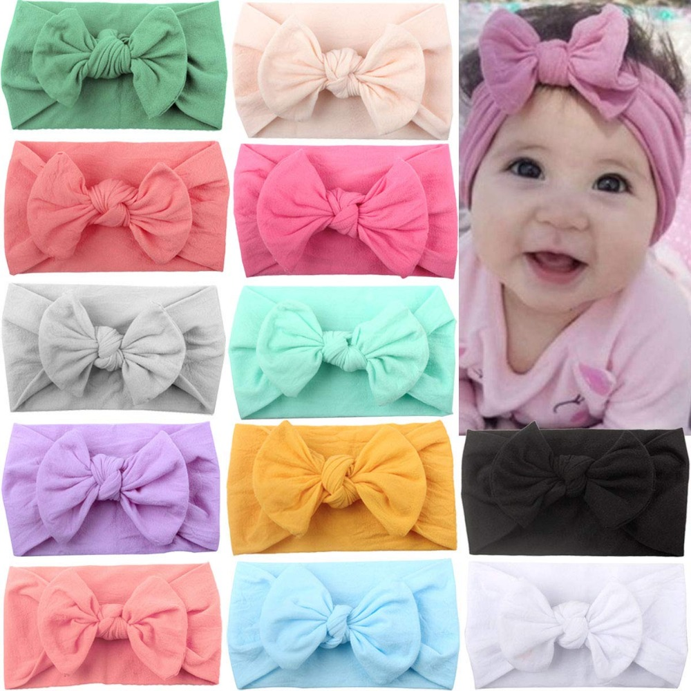 12 Colors Super Stretchy Soft Knot Baby Girl Headbands With Hair Bows Head Wrap For Newborn Baby Girls Infant Toddlers Kids