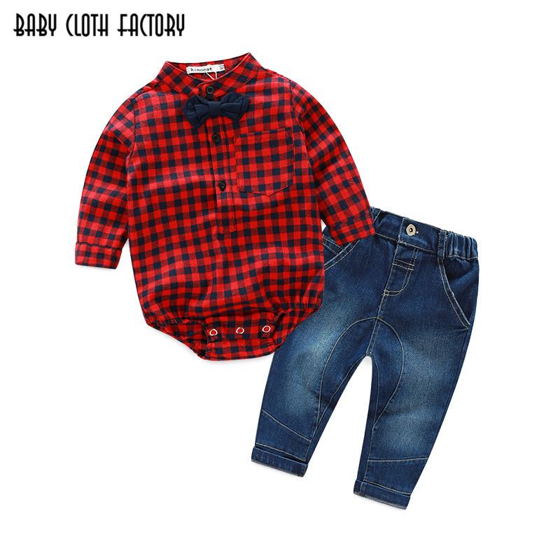 Fashion Newborn signle breasted rompers +jeans bebes Baby boy Newborn baby clothes full Sleeve Baby boy Clothes christmas