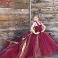 Платье для девочек с цветами poshy DREAM  Бордовое платье с цветами для девочек  кружевное платье на бретельках с длинным шлейфом  красное  Золото...