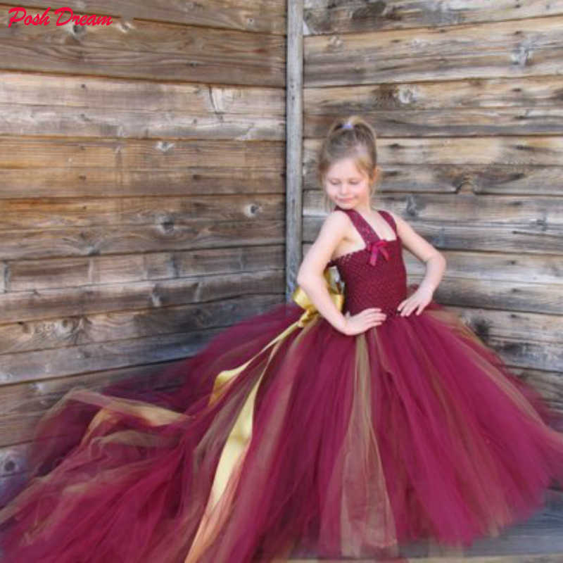 פוש חלום בורגונדי בנות טול פרח ילדה שמלת תחרה רצועות פרח ילדה שמלת כלה עם רכבת ארוכה יין אדום עם זהב שמלה