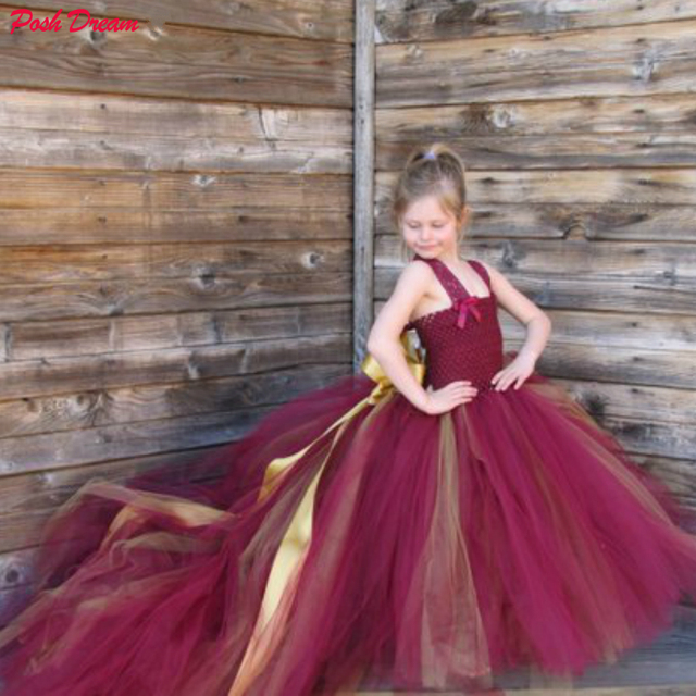 968ef056dc POSH DREAM Burgundy Girls Tulle Flower Girl Dress Lace Straps Flower Girl  Wedding Dress with Long Train Wine Red with Gold Dress