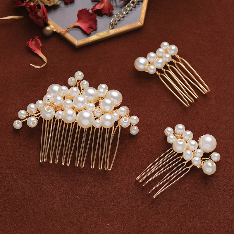ACRDDK Wedding Bride Exquisite Fairy Handmade Weave Imitation Pearl Hair Comb Set Girls Charming Elegent Luxury Jewelry Hairpins SL
