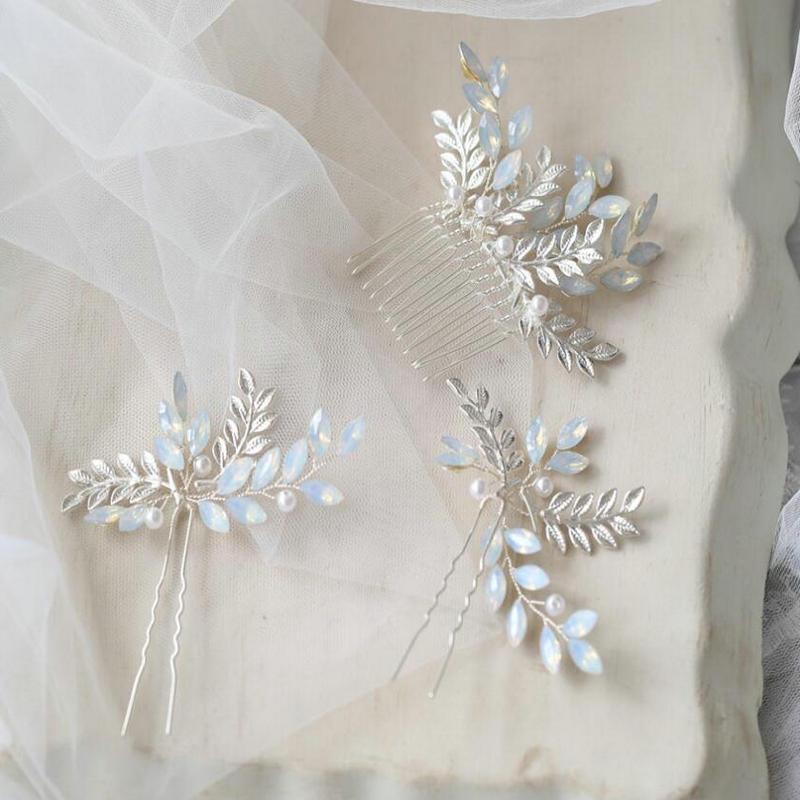 Silver Leaf Comb Bridal Hairpins Hair Accessories For Women Wedding Handmade Metal Leaves Opal Crystal Hair Jewelry Headpiece