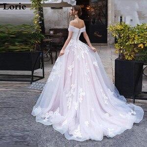 Image 2 - לורי אור ורוד נסיכת שמלות כלה כבוי כתף Appliqued תחרה הכלה שמלת אונליין טול תחרה עד בחזרה Boho חתונה שמלת