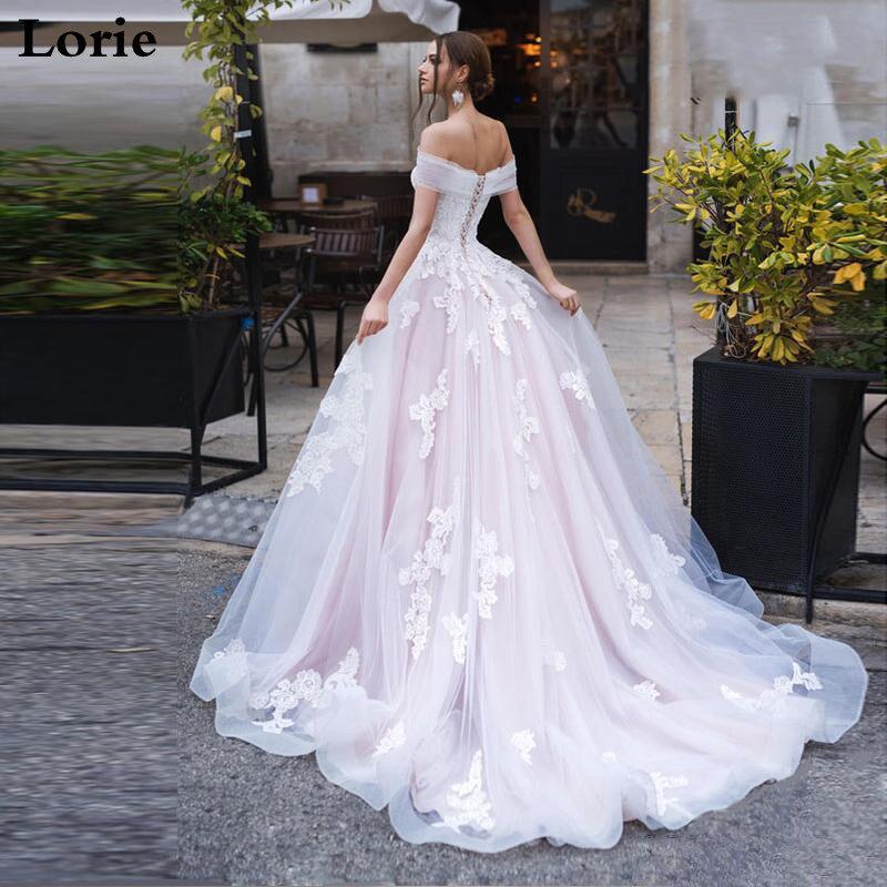LORIE Light Pink Princess Wedding Dress Off The Shoulder Appliqued Lace Bride Dress A-Line Tulle Lace Up Back Boho Wedding Gown