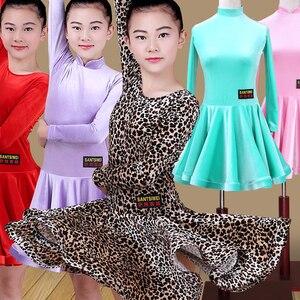 Image 3 - Leopardo di Prestazione Della Fase del Vestito Delle Ragazze di Ballo Latino Vestiti di Paillettes Per Bambini di Colore Brillante Abiti Salsa Latino Samba Costumi di Danza