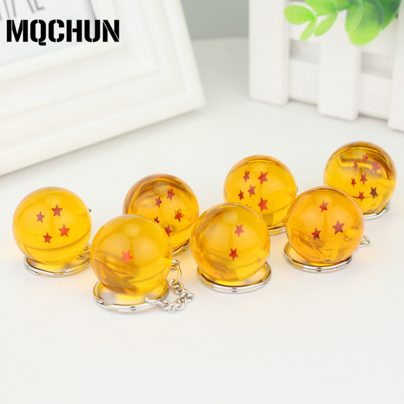 7 Stile Anime Cartoon Dragon Ball Z Keychain DBZ Cosplay Topa të Verdha Crystal 1-7 Stars PVC Toys