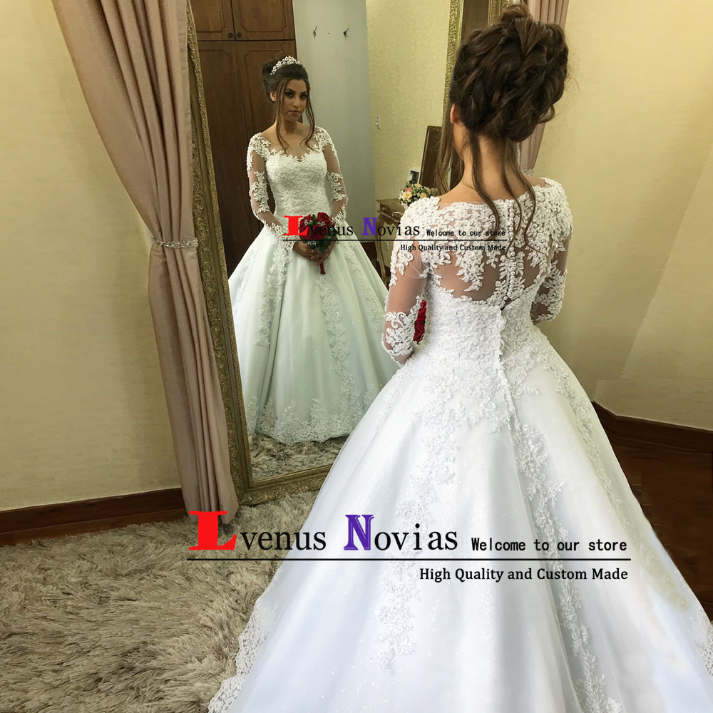 vestidos de noiva New Wedding Gowns Full Lace Appliques Long Sleeves Wedding Dresses 2019 Robe de