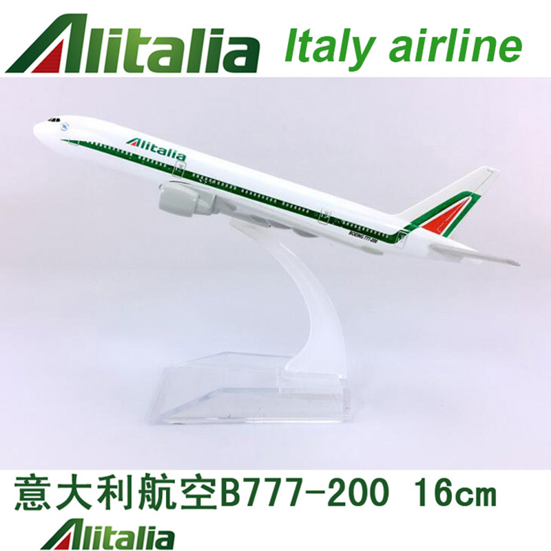 16CM 1:400 Boeing B777-200 Model Alitalia Italy Airplane With Base Alloy Aircraft Plane Collectible Display Toy Model Collection