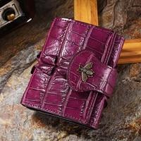 Women Genuine Leather Alligator Little Bee Wallet Hasp Card Money Holder Clutch Purse Short Crocodile Skin Wallets Pocket