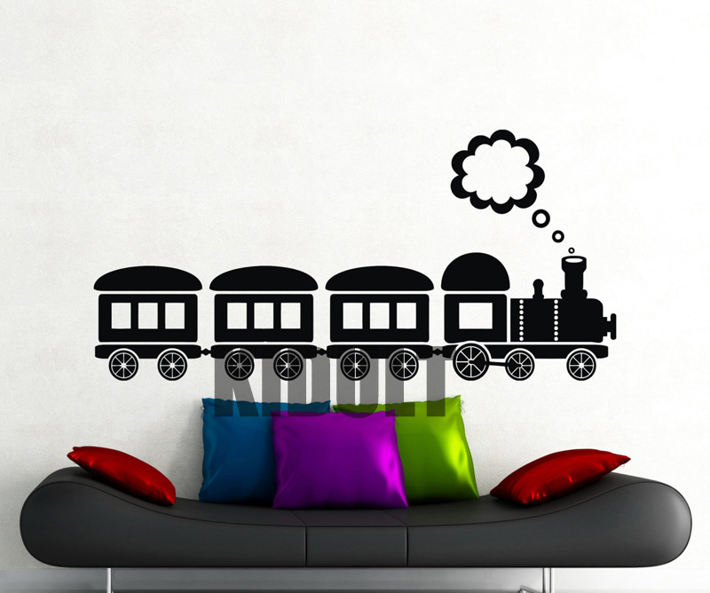 Cartoon Train Wall Stickers Home Interior Flat Wall Backdrop Bedroom Children's Room Nursery Decor Vinyl Wall Decals