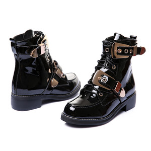 Image 3 - FEDONAS Brand Genuine Leather Golden Buckles Straps Thick Heel Ankle Boots Sexy Autumn Winter Motorcycle Snow Boots Shoes Woman