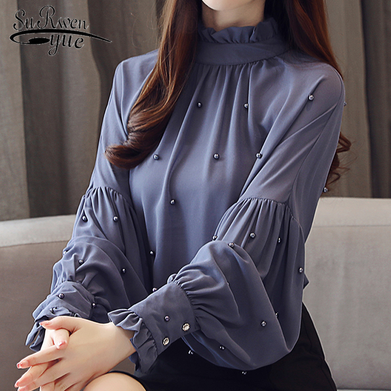 Fashion Women   Blouses   2018 Chiffon Long Sleeve   blouse     shirt   Solid OL   Blouse   ladies Tops Beading Causal Top Female Blusas 0781 30