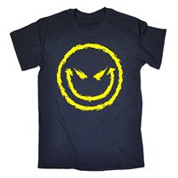 Evil Smiley Face T-SHIRT Cool Dj Attitude Rave Bad Demonic Funny Gift birthday Normal Short Sleeve Cotton T Shirts