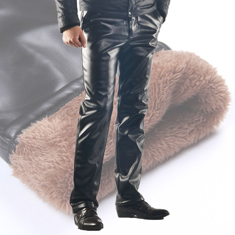 2019 Winter New Hip Hop Mens Faux Pu Leather Fleece Pants Man Casual Motorcycle Joggers Fashion Black PU Party Sweatpants 090701