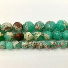 b7f90f3afdc7 Venta al por mayor piedra Natural verde de piel de serpiente redonda perlas  para joyería haciendo 6 8 10mm DIY pulsera collar Ma.