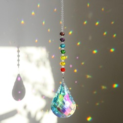 H & D Chakra Kristal SunCatcher dengan 76 Mm AB Labu Prism Tetes Rainbow Pembuat Kerajinan Rantai Menggantung Jendela Ornamen dekorasi Taman Rumah