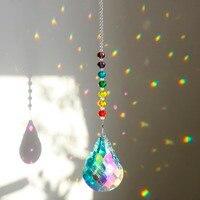 H & D Cristal de Chakra Suncatcher con 76mm AB Gourd gotas de prisma máquina de arcoíris Craft cadena colgante ornamento para ventana Home Garden Decor