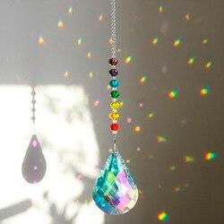 H & d chakra cristal suncatcher com 76mm ab cabaça prisma gotas arco-íris fabricante artesanato corrente pendurado ornamento da janela casa decoração do jardim