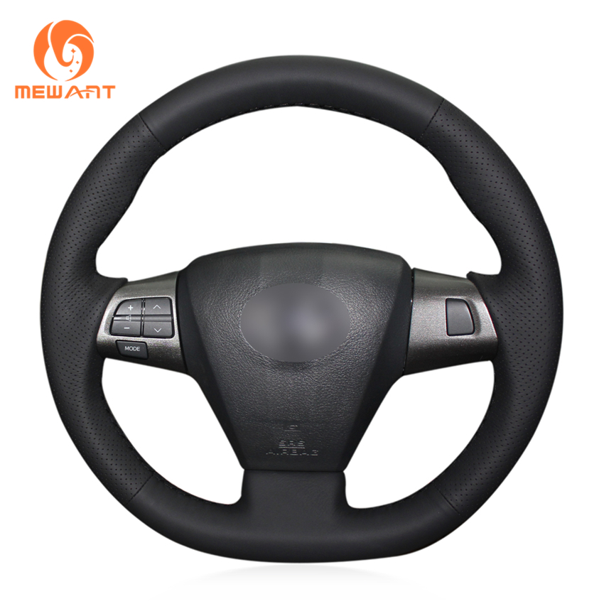 MEWANT Black Genuine Leather Car Steering Wheel Cover for Toyota Corolla 2011 2012 2013 RAV4 2011 2012 for toyota corolla altis led tail light 2011 2012 year smoke black color yzv2