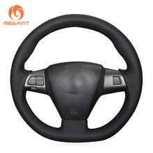 MEWANT Black Genuine Leather Car Steering Wheel Cover for Toyota Corolla RAV4 Auris Wish Vanguard Voxy 2010 2013