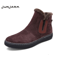 JUNJARM 2017 Fashion Handmade Men Boots Winter New Slip On Keep Warm Men Snow Boots Side