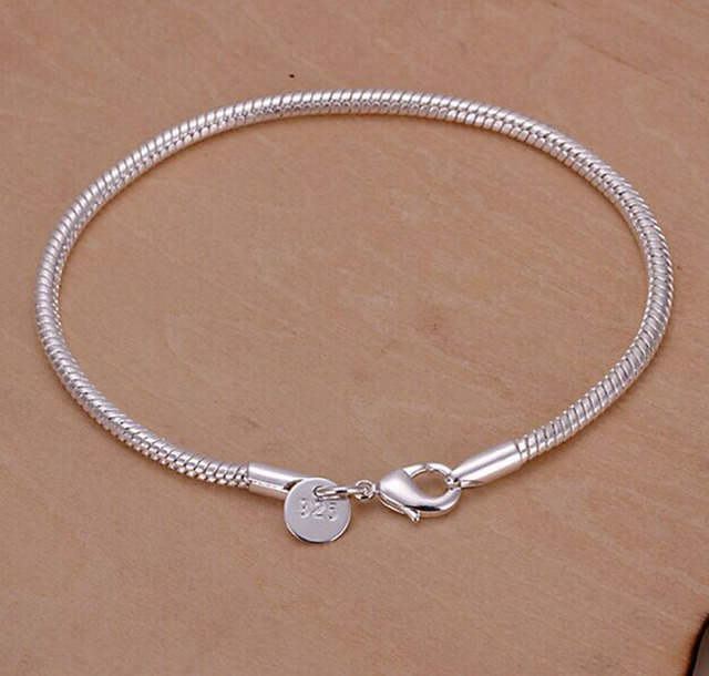 925 High Quality Simple Silver Bracelet Charms Crystal Femme Chain Bracelets For Women Jewelry