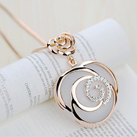 Free Shipping Viennois Sweater Chain Fashion Crystal Long Necklace Coat Chain Jewelry Flower Wholesale Gift