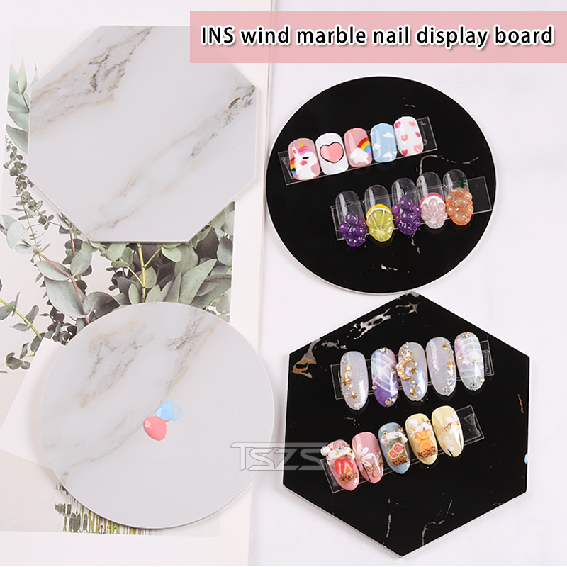 TSZS Newest 1pcs/lot Black/White 5 Styles Marble Nail Display Beautiful Art Nail Tips Show Tool Color Palette Photo Props