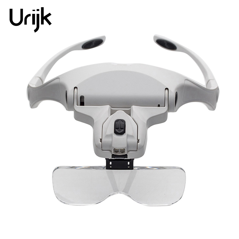 Urijk 5 Lens 1X 1.5X 2X 2.5X 3.5X Headband Glasses Magnifier Magnifying Glass Adjustable Glass Loupe Magnifier with Double LED