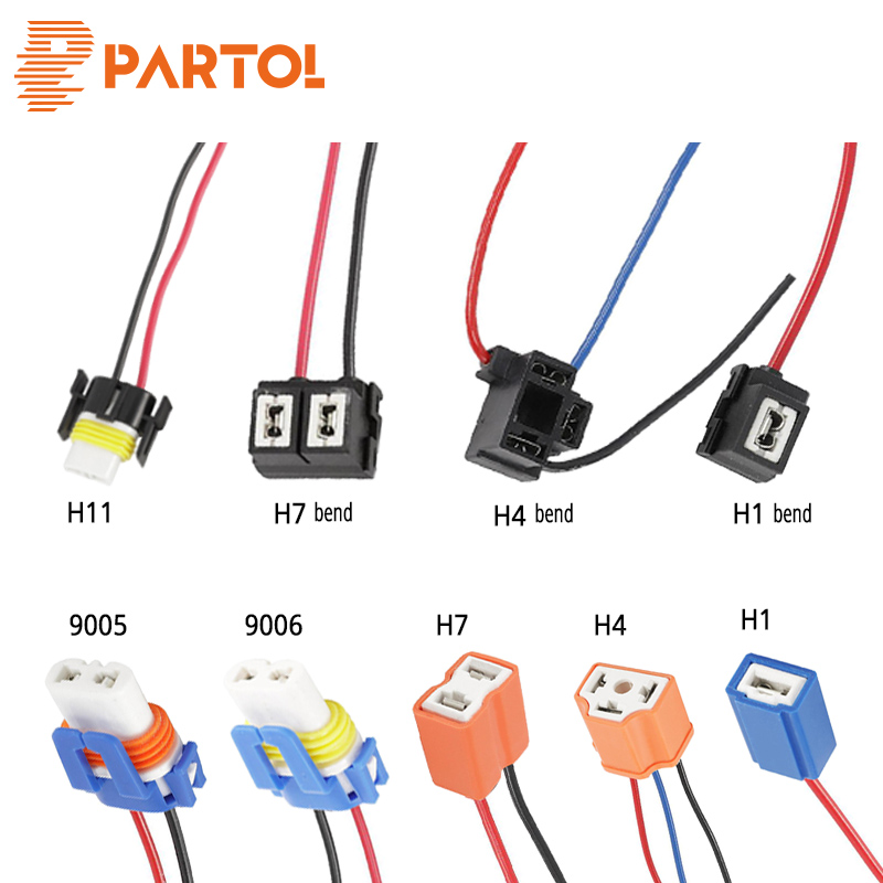 Partol 2x H1 <font><b>H4</b></font> H7 H11 9006 Car LED Headlight Ceramic Bulbs Holder Extension Automotive Wire Halogen Adapter <font><b>Socket</b></font> <font><b>Lamp</b></font> Connect image