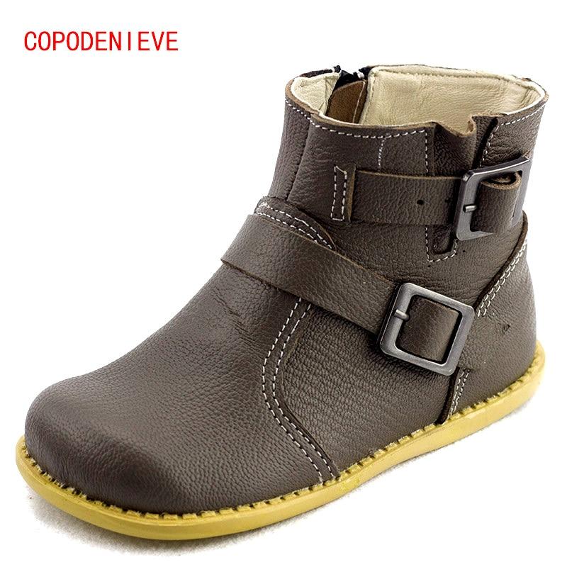 COPODENIEVE लड़कियों के चमड़े के जूते बच्चों के जूते 2017 वसंत बड़े लड़के और लड़कियों के छात्र आकस्मिक मार्टिन जूते बच्चों के जूते