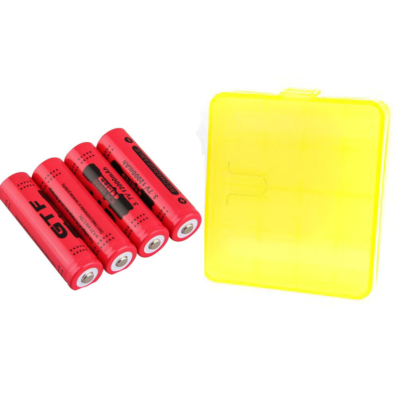GTF 4pcs 18650 Battery 3.7V 12000mAh Rechargeable Li-ion Battery for LED Torch Flashlight Rechargeable Battery with Battery Box 2017 brand new 18650 battery 3 7v 9900mah rechargeable li ion battery for led flashlight torch cell flashlight battery