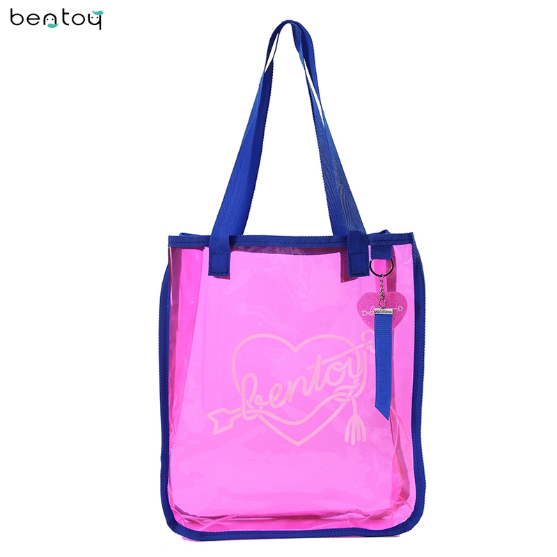 Bentoy Brand Summer Women Shoulder Bag Casual PVC Open Shopper Bag Fashion Cartoon Print Lucency Beach Handbag Feminina Blosa 6cm high heels women slides ladies slippers sandals flips flops 2018 summer beach platform shoes woman fashion comfortable flats page 8
