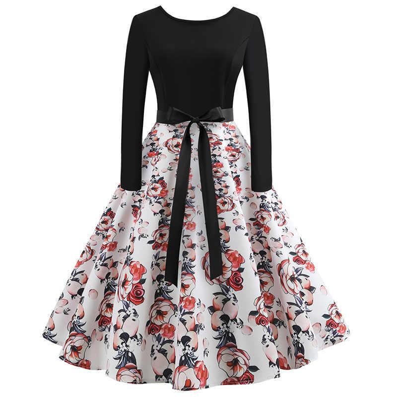 2018; сезон осень-зима; платье с длинными рукавами Для женщин цветочный, отпечатанный, винтажный платье Повседневное работы Платья для вечеринок черное платье В лоскутном стиле