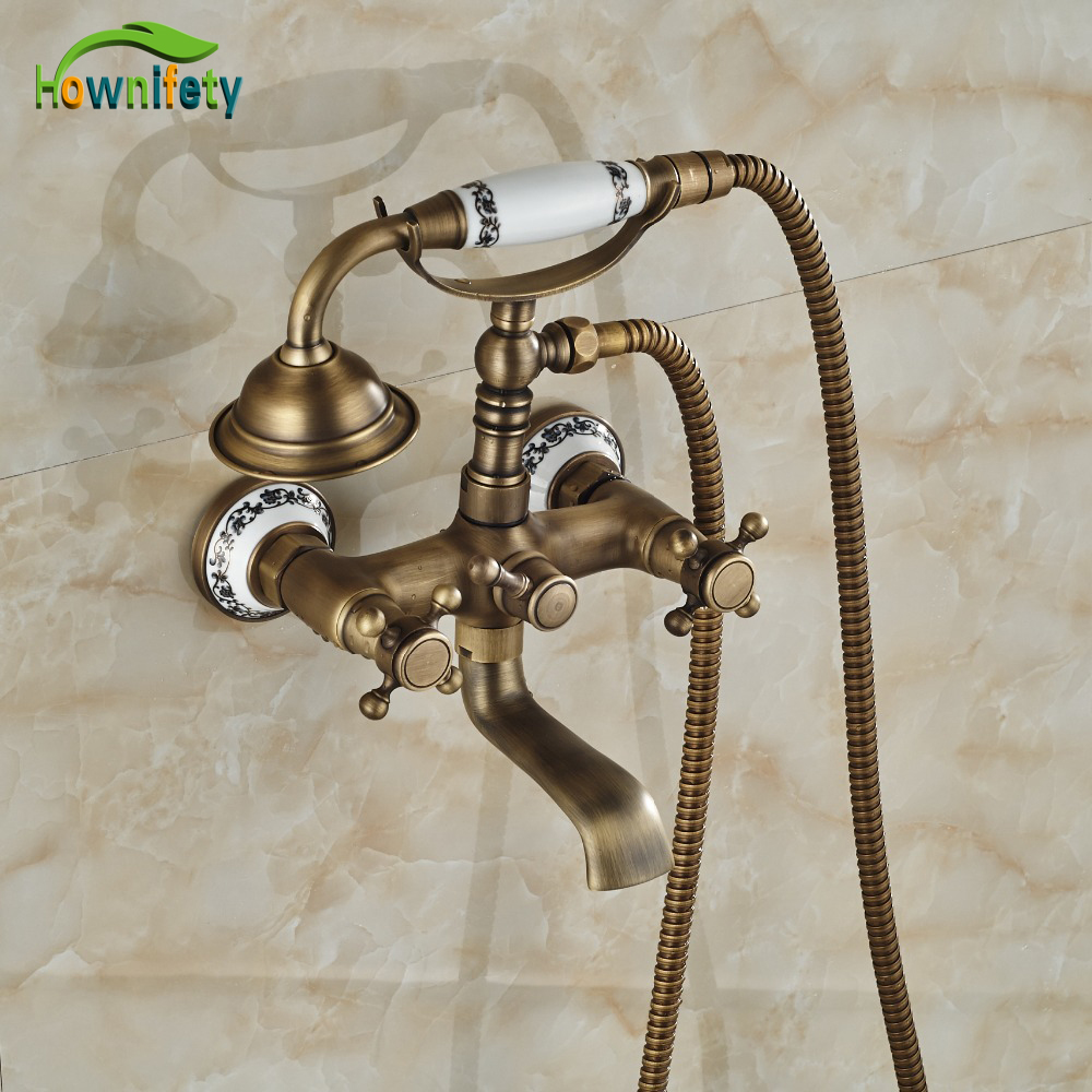 Contemporary Tel Shape Tub Faucet Wall Mounted Antique Brass With Ceramic Hand Shower Mixer Faucet